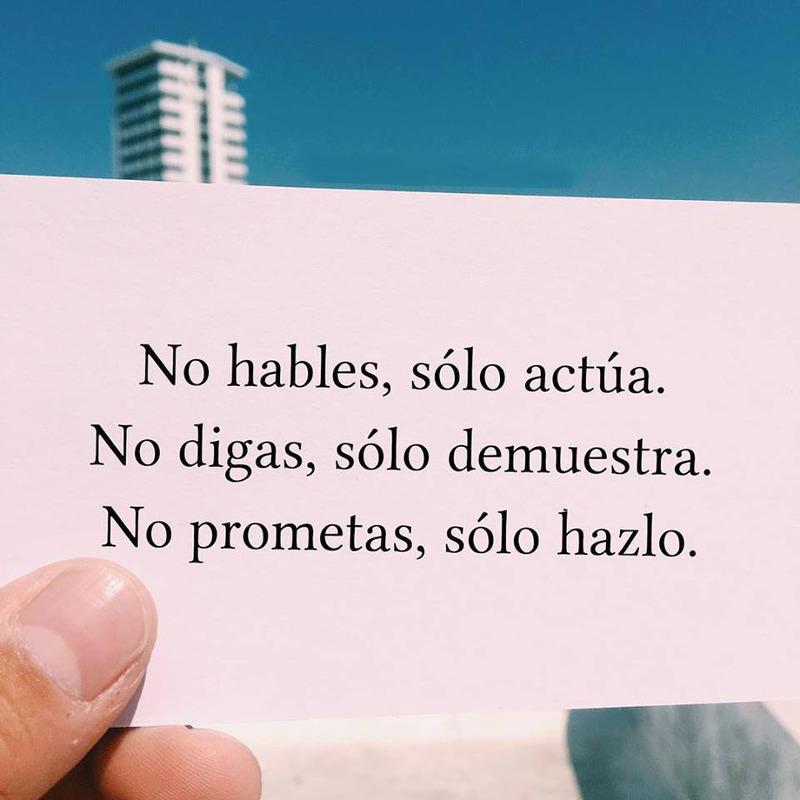 #hables #solo #actúa No hables, solo actúa.