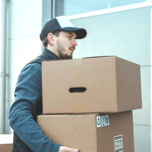 Person, Package Delivery, Cardboard, Box, Carton, Hat, Clothing, Apparel