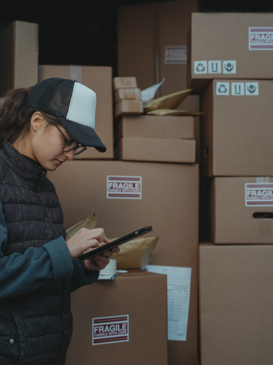Package Delivery, Person, Cardboard, Box, Carton, Hat, Clothing, Apparel