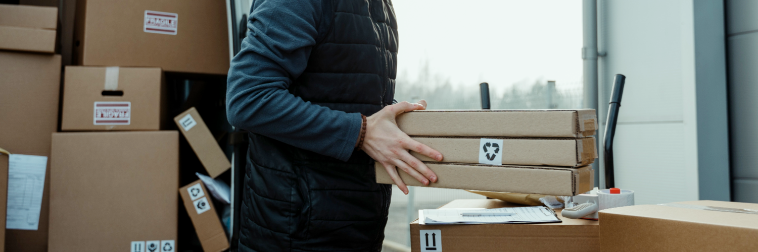 Package Delivery, Person, Cardboard, Box, Carton