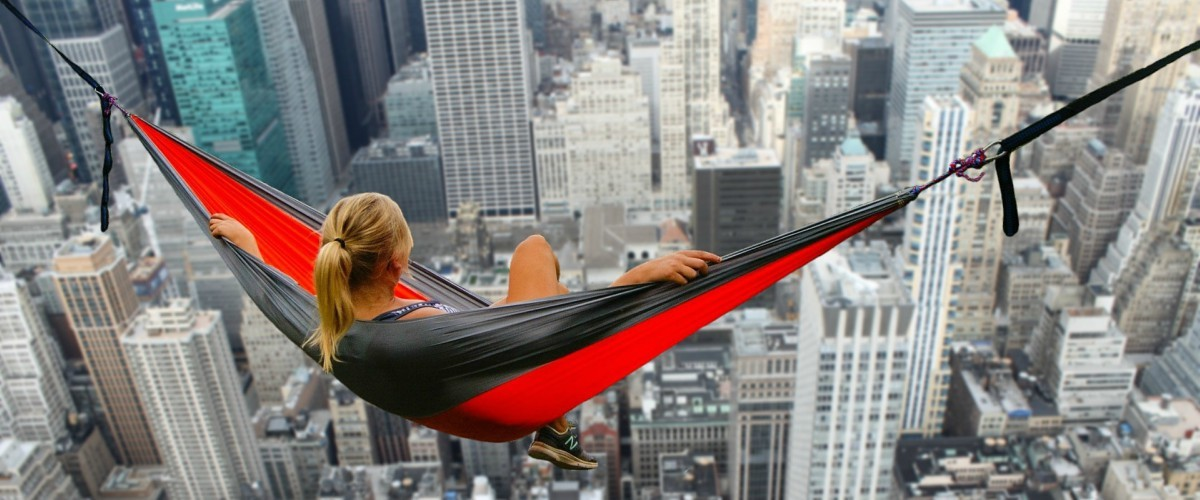 Architecture, Building, City, High Rise, Skyscraper, Town, Urban, Dock, Pier, Furniture, Metropolis, Hammock, Airplane, Transportation, Person