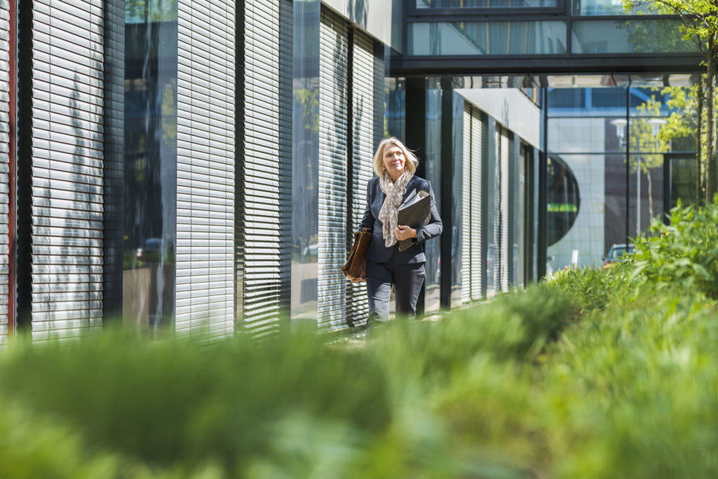 Person, Office Building, Building, Home Decor, Blonde, Female, Woman, Clothing, Window, Campus