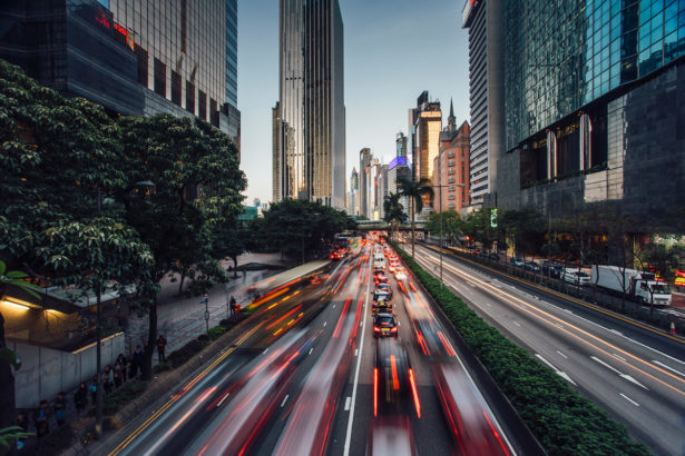 Road, City, Urban, Building, Freeway, High Rise, Metropolis, Downtown, Person, Highway