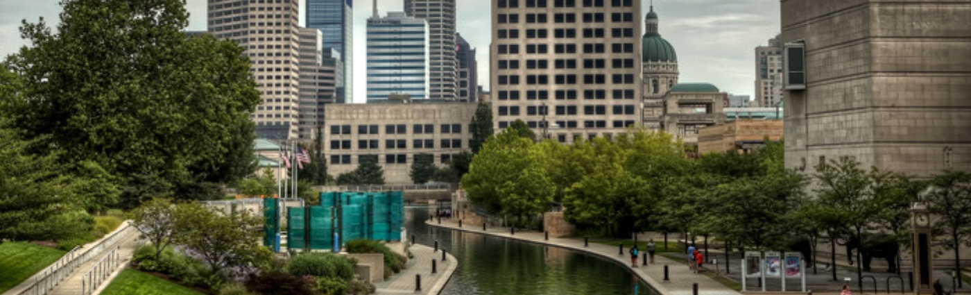 Water, City, Building, Urban, Office Building, Outdoors, High Rise, Downtown, Person, Path