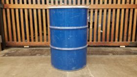 Image of a 55 Gallon Blue Metal Drum