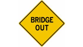 """Image of a """"Bridge Out"""" Traffic Sign"""