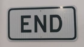 """Image of a """"End"""" Traffic Sign"""