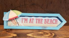 """Image of a """"I'm At the Beach"""" Sign"""