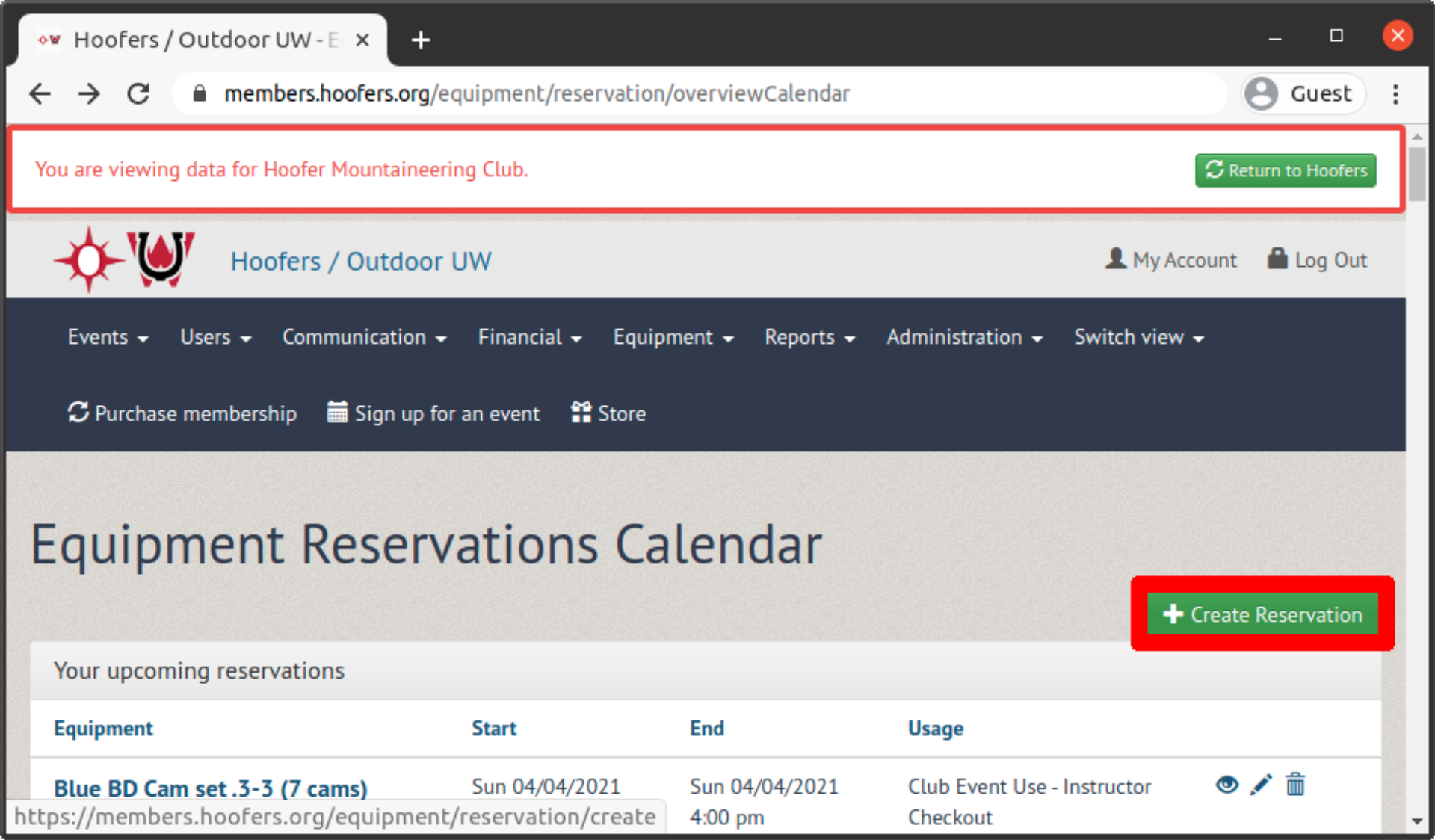 Create reservation