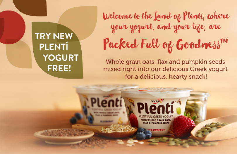 FREE Yoplait Plenti Yogurt...