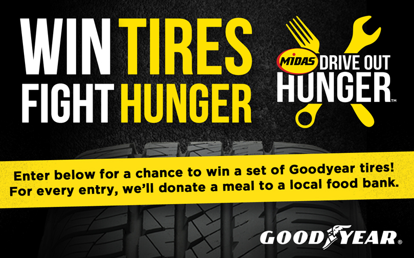 Win  a Set of Goodyear Tires! Every Entry is a Meal Donated to Food Bank