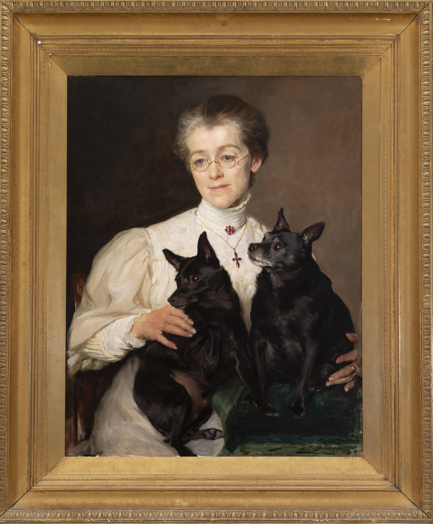 Maud, Daughter of Colonel Temple with her two Schipperkes