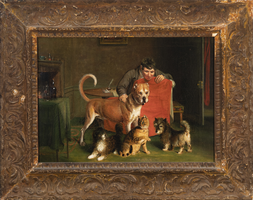 Man with Three Dogs and Cat