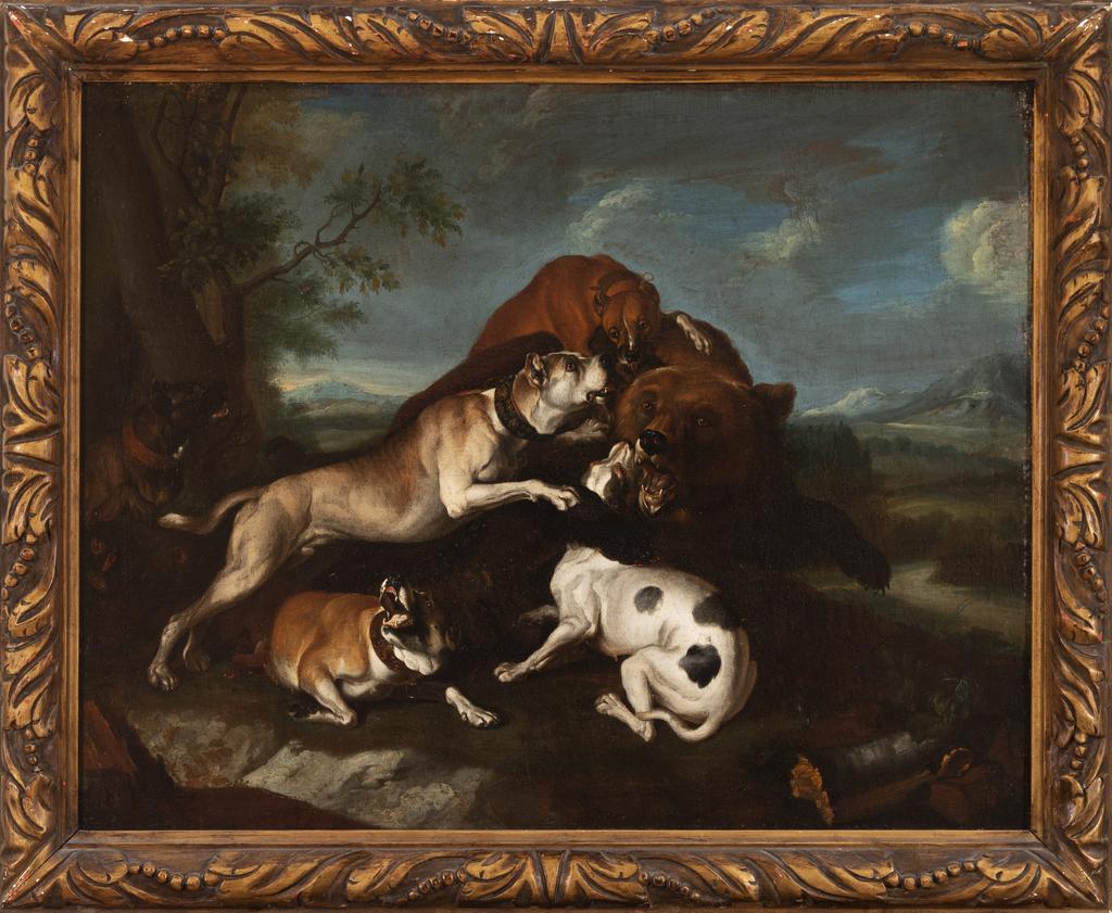 Mastiffs Attacking a Bear