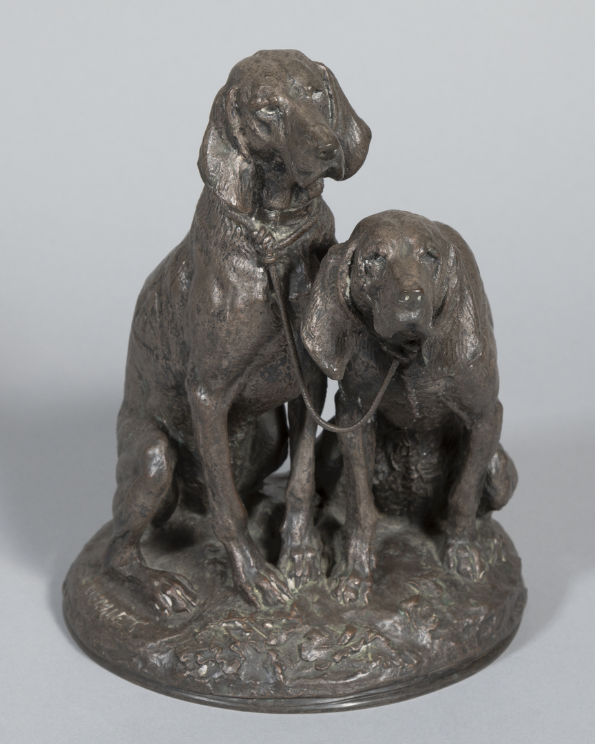 Pair of Hounds-seated/chained