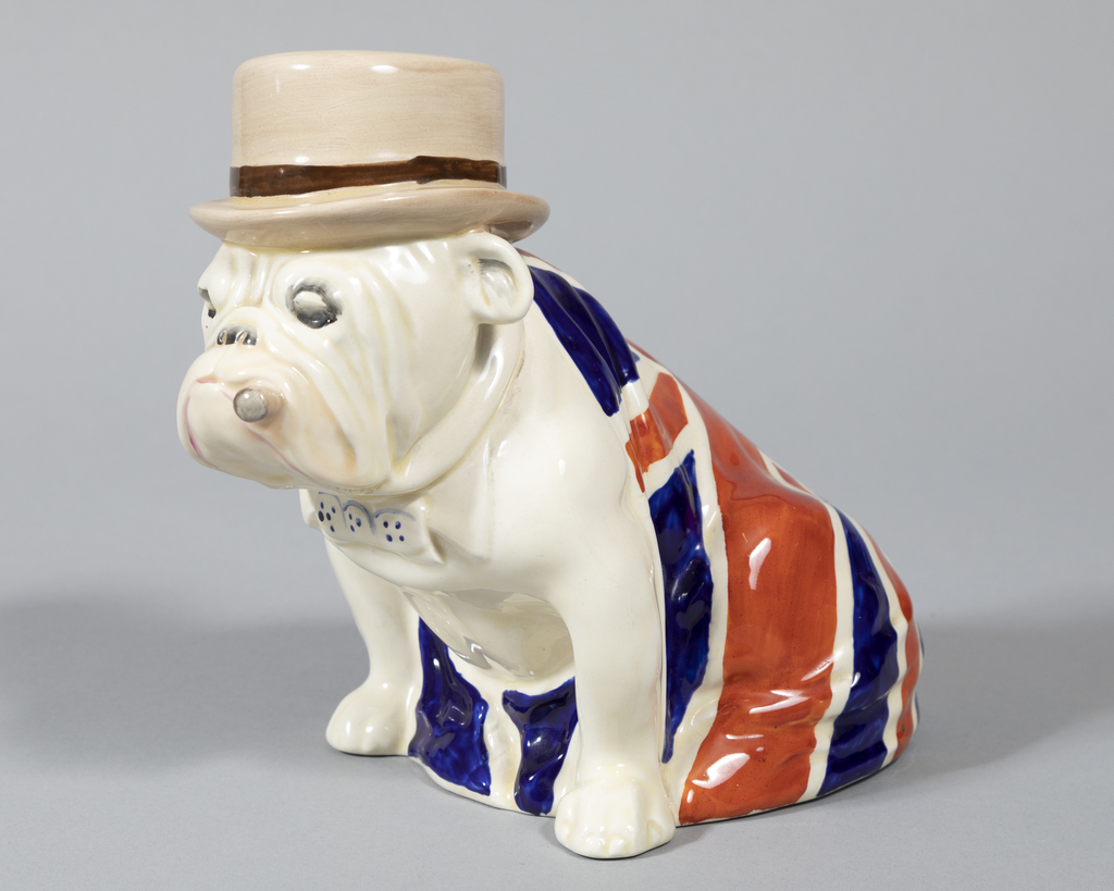 Large Bulldog with Union Jack and Derby Hat