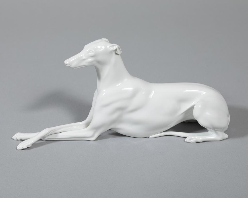 Reclining Greyhound - white