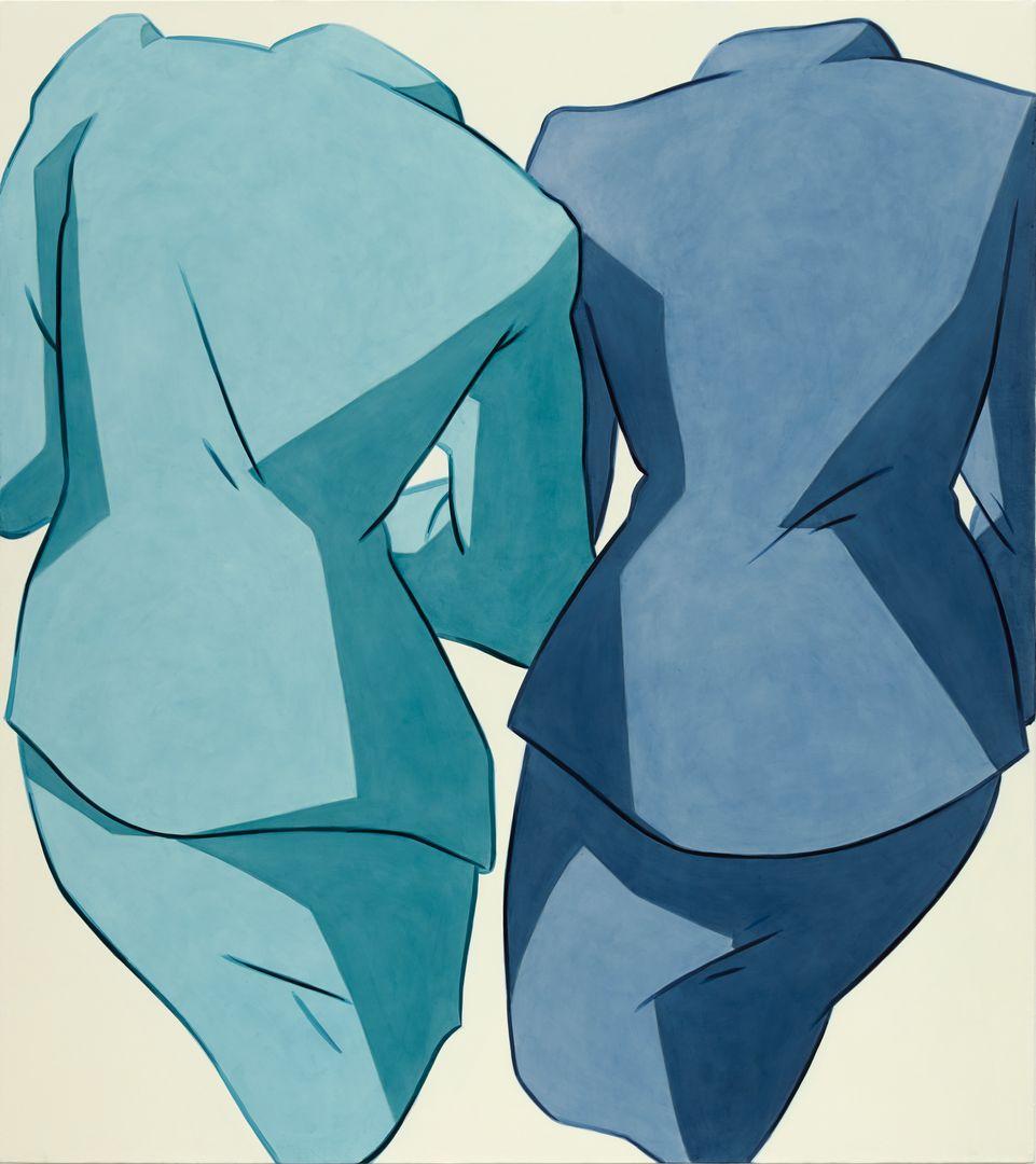 Ivy Haldeman, Two Suits, Backs Forward, Shoulder Cocked, Sleeves Overlap (Blue, Blue).tif