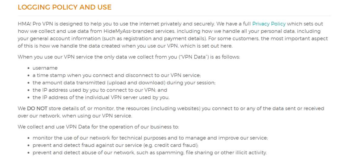 Hidemyass Review Privacy Policy Logging