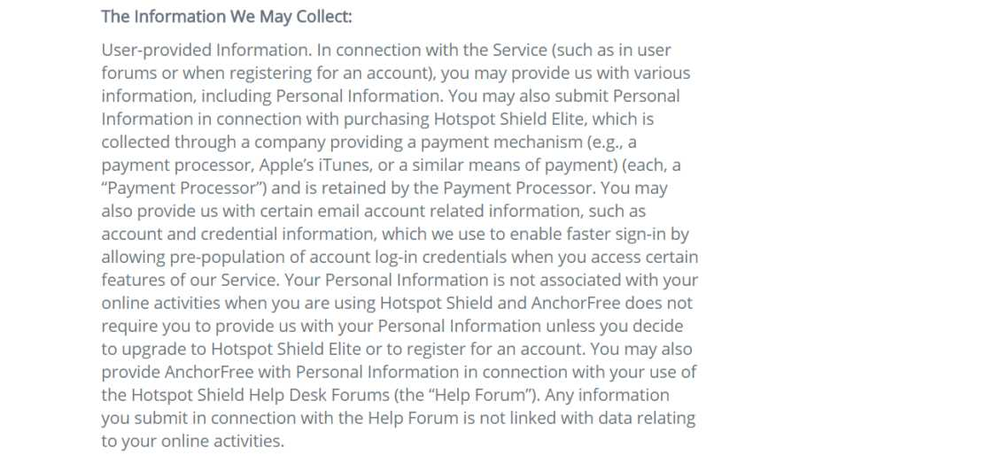 Hotspot Shield Review Privacy Policy Logging 2