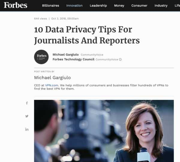 Vpn Top 10 Tips Journalist Privacy Guide