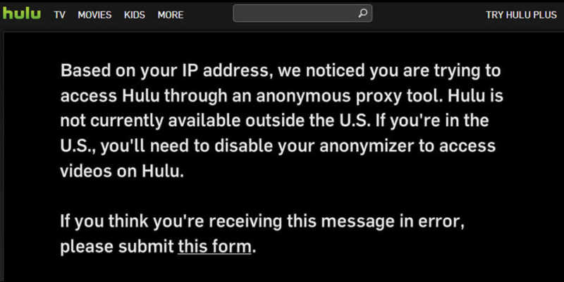 Streaming Hulu Proxy Error